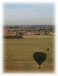 Click to Book a Hot Air Balloon Flight over Bedfordshire. (Photo of balloon flight over Thame, Oxfordshire.)